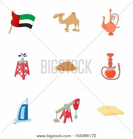 UAE icons set. Cartoon illustration of 9 UAE vector icons for web
