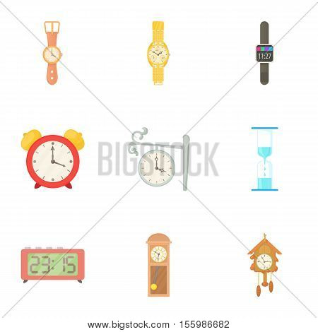 Time dimension icons set. Cartoon illustration of 9 time dimension vector icons for web