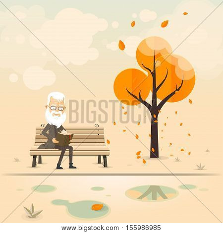 Autumn Park an old man on a bench reading a book. Vector illustration in flat style isolated from the background