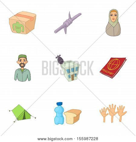 Refugees icons set. Cartoon illustration of 9 refugees vector icons for web