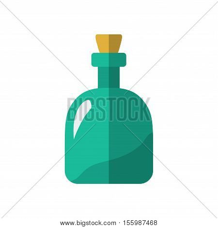 Flat Rum Bottle Icon Isolated Vector Illustration. Cartoon Symbol In Material Flat Style Design.