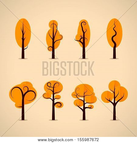 Set of autumn trees made in fashion design