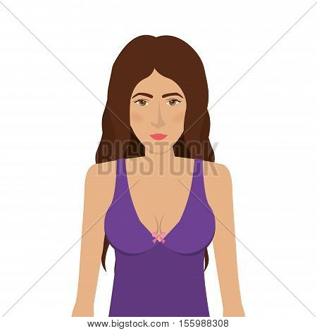 woman in colorful bra. over white background. underwear design. vector illustration