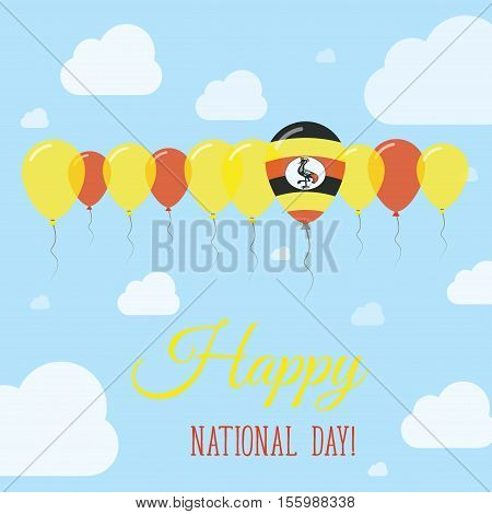 Uganda National Day Flat Patriotic Poster. Row Of Balloons In Colors Of The Ugandan Flag. Happy Nati