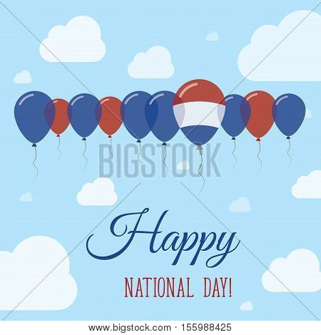 Netherlands National Day Flat Patriotic Poster. Row Of Balloons In Colors Of The Dutch Flag. Happy N