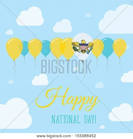 Virgin Islands, U.s. National Day Flat Patriotic Poster. Row Of Balloons In Colors Of The Virgin Isl