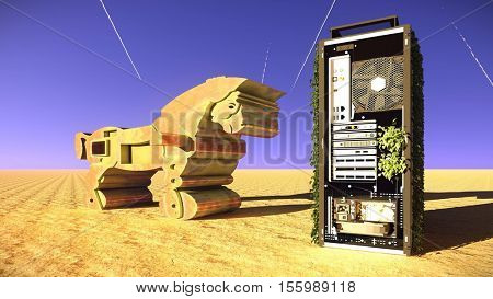 Trojan horse and computer 3d illustration