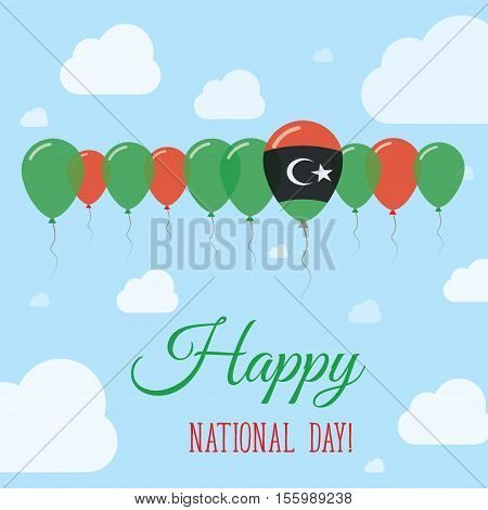 Libya National Day Flat Patriotic Poster. Row Of Balloons In Colors Of The Libyan Flag. Happy Nation
