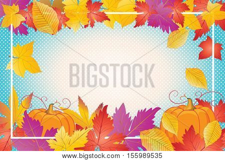 Thanksgiving Day fall leaves background. Thanksgiving Autumn leaves and pumpkin frame. Thanksgiving Day border template. Fall leafs. Vector illustration.