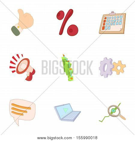 Statistics icons set. Cartoon illustration of 9 statistics vector icons for web
