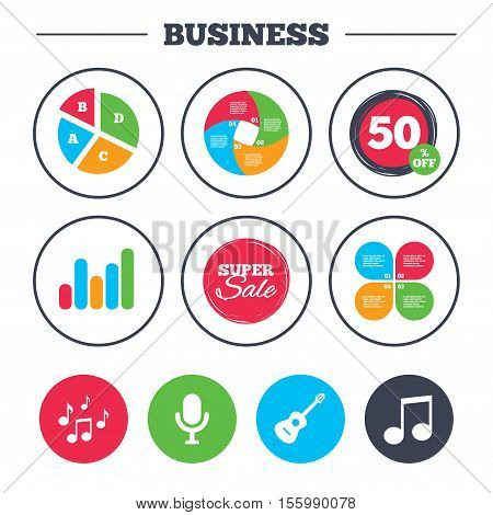 Business pie chart. Growth graph. Music icons. Microphone karaoke symbol. Music notes and acoustic guitar signs. Super sale and discount buttons. Vector