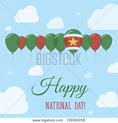 Suriname National Day Flat Patriotic Poster. Row Of Balloons In Colors Of The Surinamer Flag. Happy