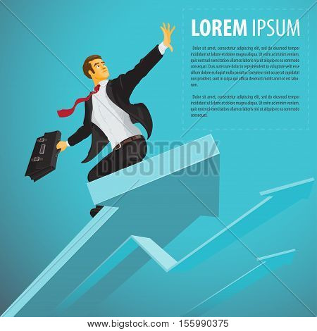 Successful businessman riding a the index flies to the meeting success. Vector illustration in flat cartoon style isolated from the background