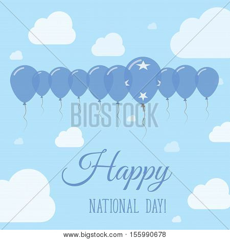 Micronesia, Federated States Of National Day Flat Patriotic Poster. Row Of Balloons In Colors Of The