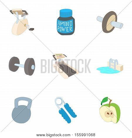 Classes in gym icons set. Cartoon illustration of 9 classes in gym vector icons for web