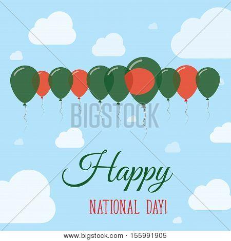 Bangladesh National Day Flat Patriotic Poster. Row Of Balloons In Colors Of The Bangladeshi Flag. Ha