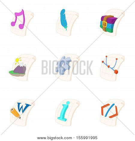 Types of files icons set. Cartoon illustration of 9 types of files vector icons for web