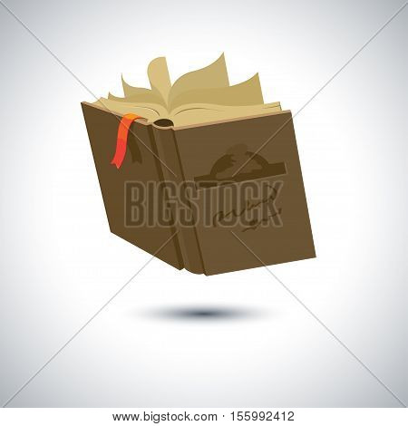 Brown covered opened book with pages fluttering. Vector illustration in flat style isolated from the background