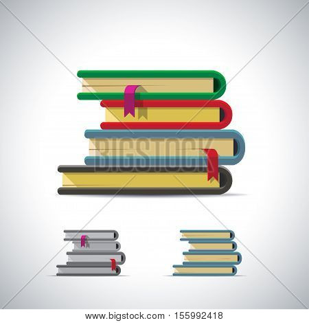 Stack of book with bookmarks. Vector illustration in flat style isolated from the background