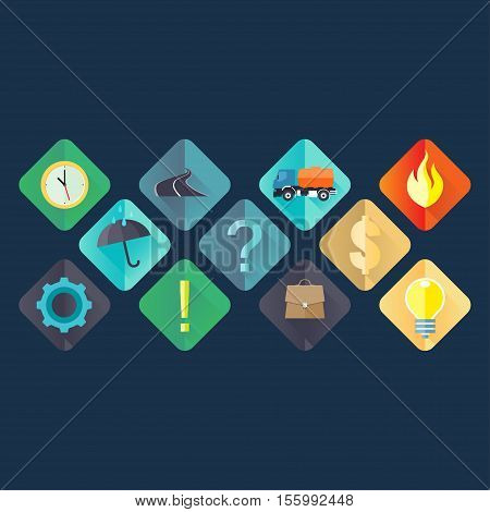 Modern flat icons vector collection with long shadow effect in stylish colors of web design objects business office and marketing items. Isolated on white background.