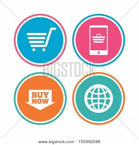 Online shopping icons. Smartphone, shopping cart, buy now arrow and internet signs. WWW globe symbol. Colored circle buttons. Vector