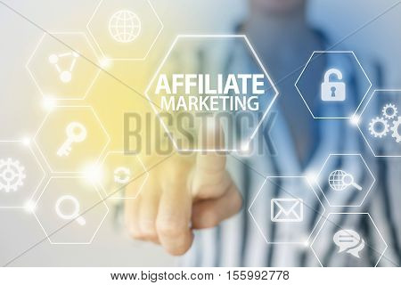 Affiliate marketing business concept hand touches digital display