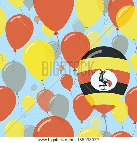Uganda National Day Flat Seamless Pattern. Flying Celebration Balloons In Colors Of Ugandan Flag. Ha