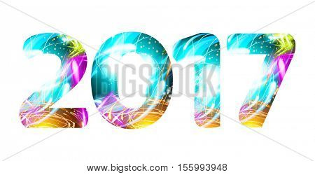 2017 year Light Shine symbol neon character vector