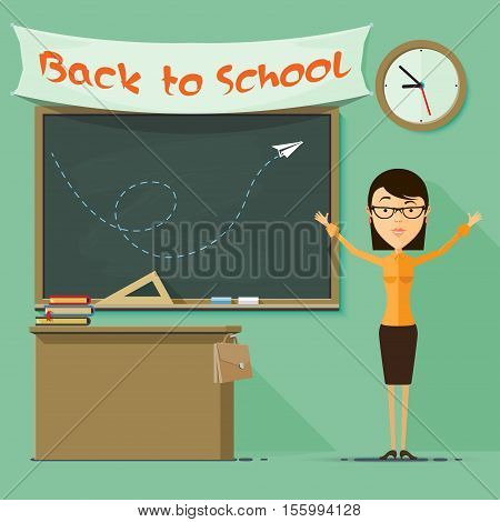 A teacher at the blackboard, books and desk, briefcase, sign. Back to school. Vector illustration in flat style isolated from the background