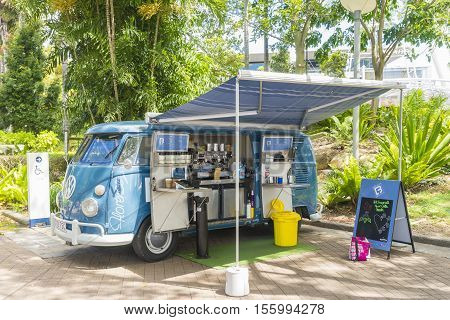 Brisbane, Australia - September 25, 2016: Coffee van or food truck selling coffee and food in South Bank Parklands in Brisbane during daytime.