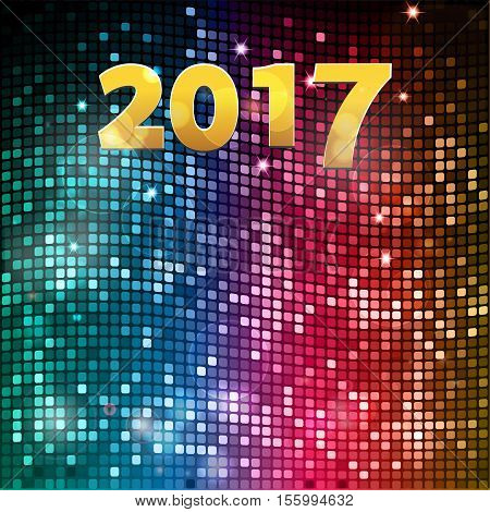 Golden 2017 New Year Over Blue and Red Glowing Tiles Mosaic Background