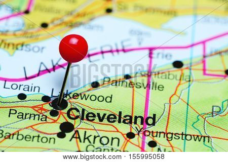 Cleveland pinned on a map of Ohio, USA