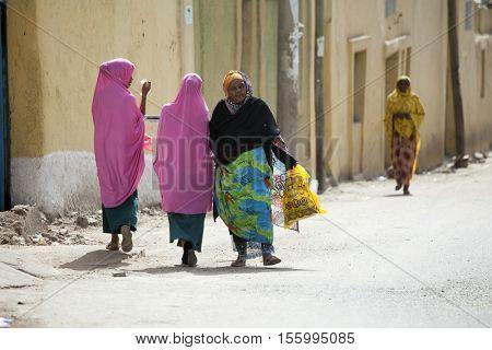 DIRE DAWA, ETHIOPIA-APRIL 16, 2015: Unidentified Somali women walk in the streets of Dire Dawa, Ethiopia near the Somali Border.