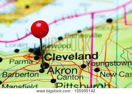 Akron pinned on a map of Ohio, USA