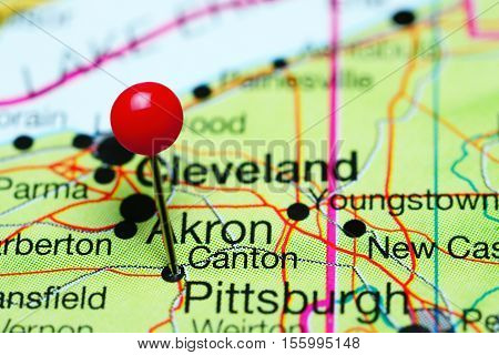 Canton pinned on a map of Ohio, USA