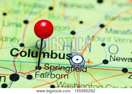 Springfield pinned on a map of Ohio, USA