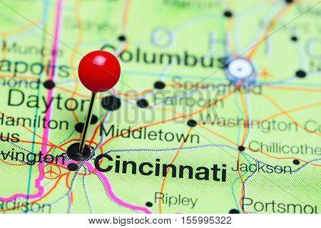 Cincinnati pinned on a map of Ohio, USA