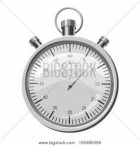 Stopwatch icon. Gray monochrome illustration of stopwatch vector icon for web design