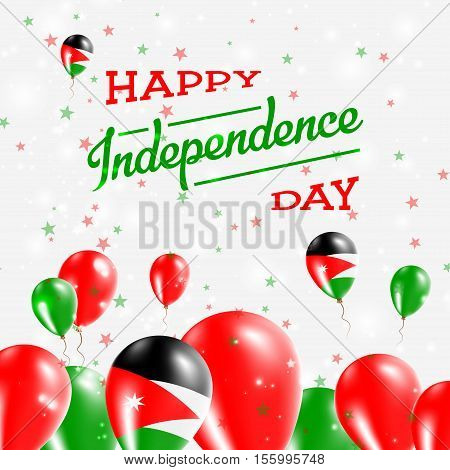 Jordan Independence Day Patriotic Design. Balloons In National Colors Of The Country. Happy Independ