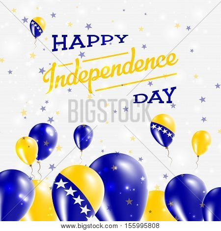 Bosnia And Herzegovina Independence Day Patriotic Design. Balloons In National Colors Of The Country