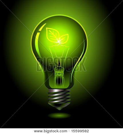 vector green lightbulb, ecology concept