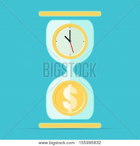 Hourglass time is money. Vector illustration in flat style isolated from the background