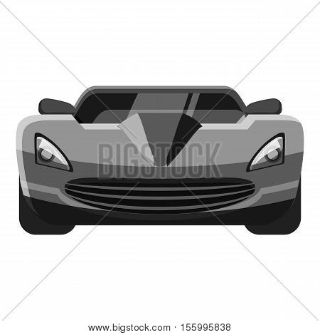 Sport car front view icon. Gray monochrome illustration of car vector icon for web design