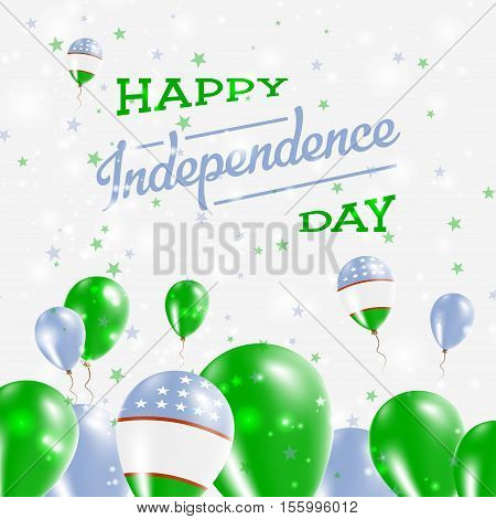 Uzbekistan Independence Day Patriotic Design. Balloons In National Colors Of The Country. Happy Inde