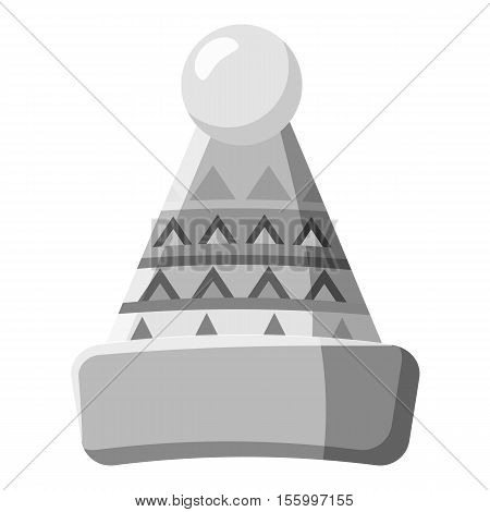 Hat with pompom icon. Gray monochrome illustration of hat vector icon for web design