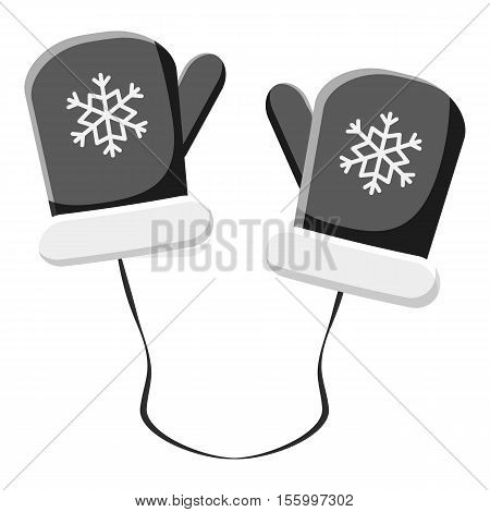 Mittens with snowflake icon. Gray monochrome illustration of mittens vector icon for web design