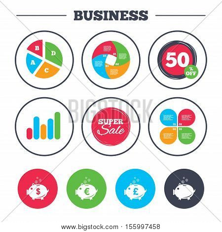 Business pie chart. Growth graph. Piggy bank icons. Dollar, Euro and Pound moneybox signs. Cash coin money symbols. Super sale and discount buttons. Vector