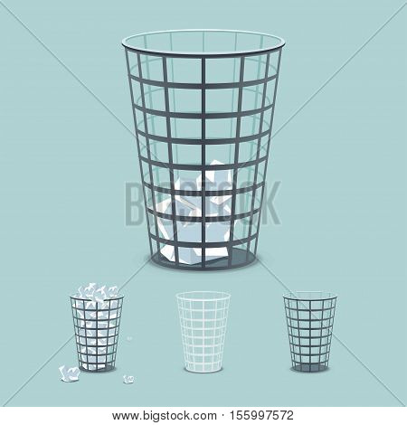 Dustbins for office paper in the bin. Empty and full trash can. Vector illustration isolated from the background