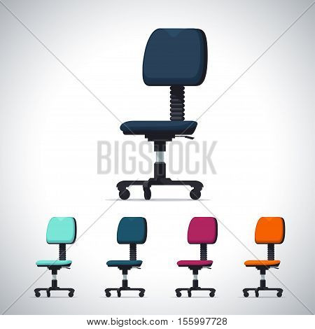 Vector large set of very detailed office chair. Vector illustration in flat style isolated from the background