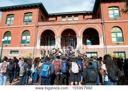 Alameda CA - November 10 2016: Students from every High School in Alameda California walk out of classes to protest the election results on the steps of City Hall.